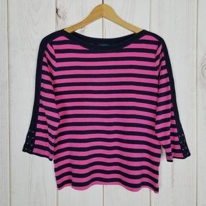Chaps Ralph Lauren Pink Navy Stripe Knit Top Large